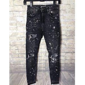 Zara paint splatter dark distressed skinny jeans